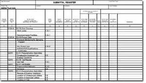 Material Submittal Template by Submittal Register