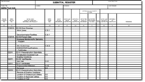 material submittal template submittal log template images