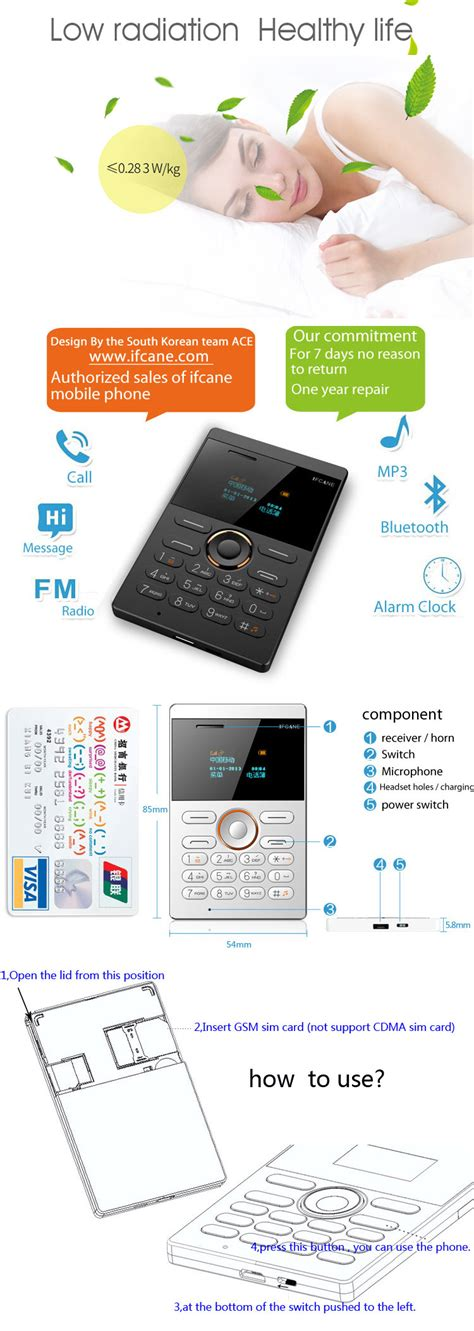 Ifcane E1 Card Phone Ultra Thin ifcane e1 standby vibration bluetooth gsm ultra thin