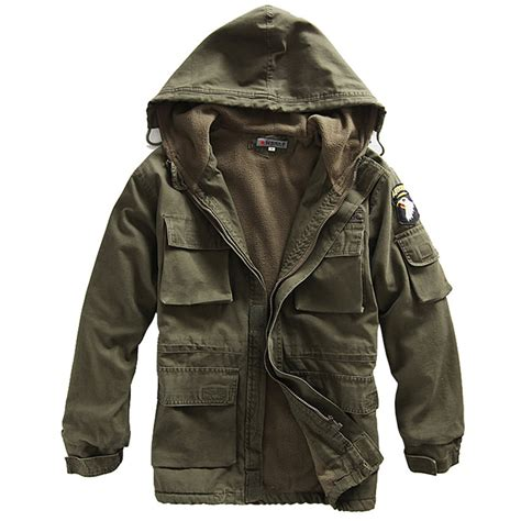 Outer Parka Army mens coat cotton fleece hooded warm jacket outerwear black army green ebay