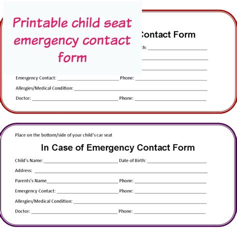 emergency contact form template for child template in of emergency form template