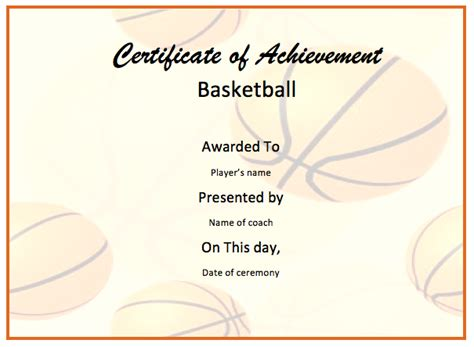 basketball certificate template word templates
