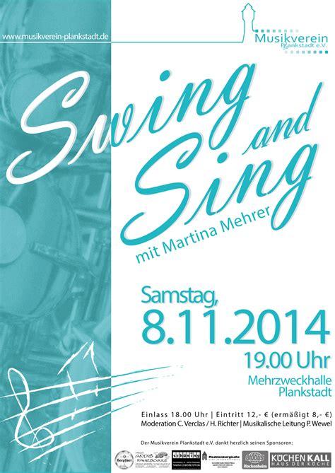 swing plakat swing and sing mit martina mehrer blasmusikverband rhein
