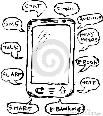 doodle draw windows phone draw sketch function of mobile phone stock vector