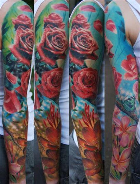 tattoo arm sleeves look real realistic flower sleeve tattoo by negative karma