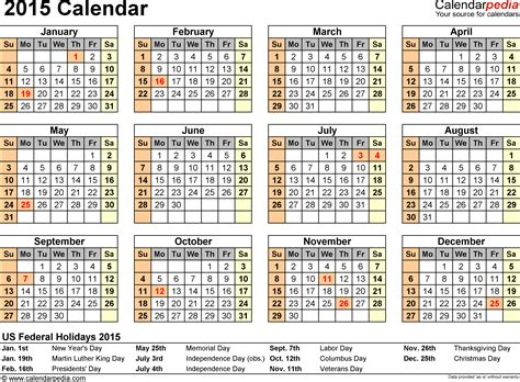 2015 calendar template pdf 2015 calendar with federal holidays excel pdf word templates