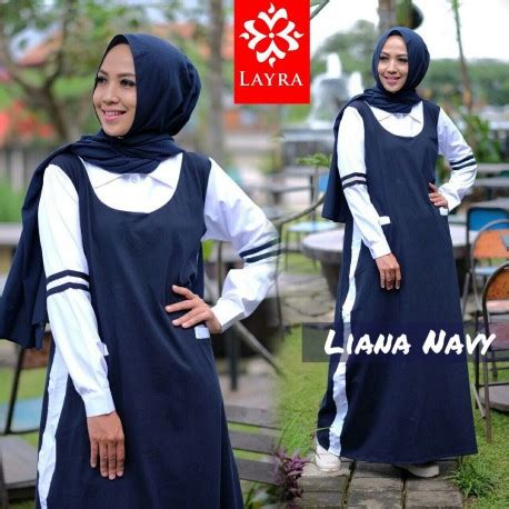 Liana By Kanio liana 2 navy baju muslim gamis modern