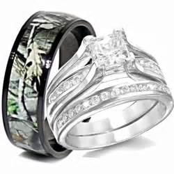 camo wedding rings sets his titanium camo hers sterling silver wedding rings set camouflage black 3pcs ebay
