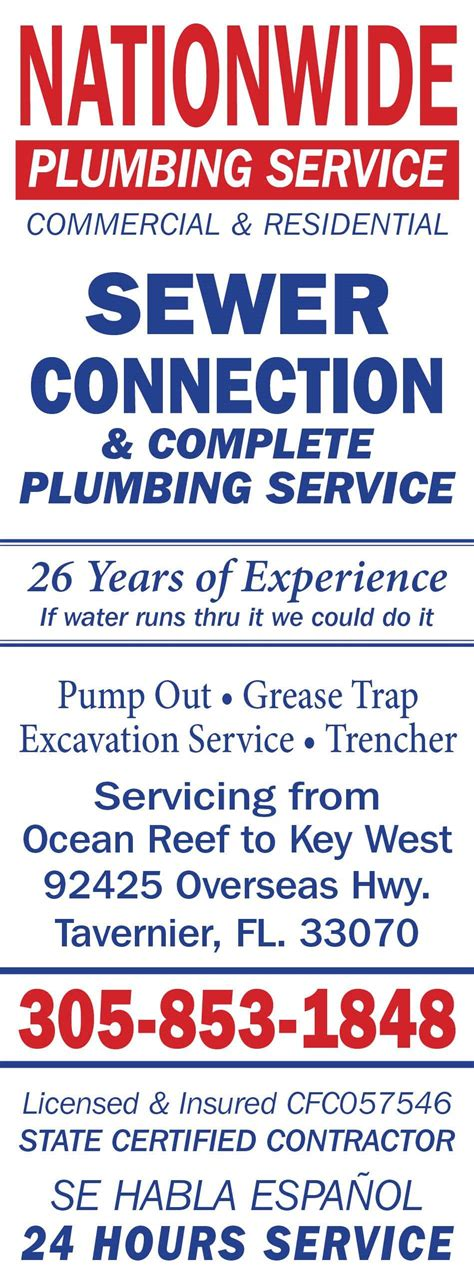 Nationwide Plumbing by Nationwide Plumbing Service Inc In Tavernier Fl Whitepages