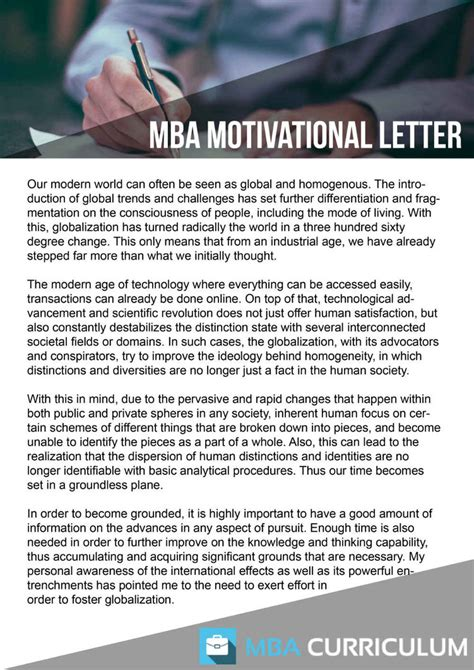 Mba Application Forum by Mba Application Motivation Letter Sle By