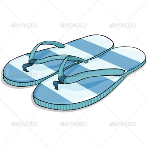 cartoon house shoes vector cartoon blue stripped beach slippers graphicriver