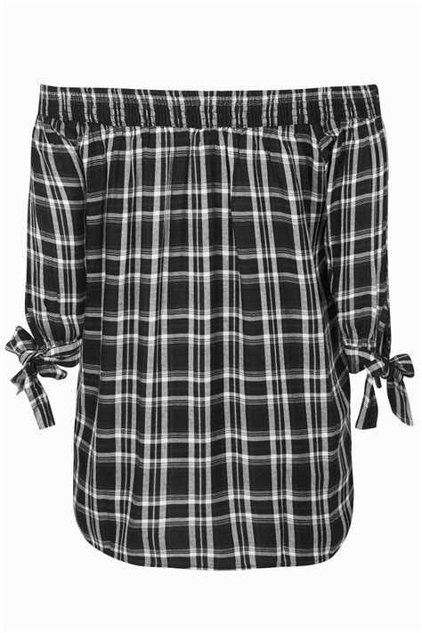 t mobile background check black white check embroidered bardot top plus size 16 to 36
