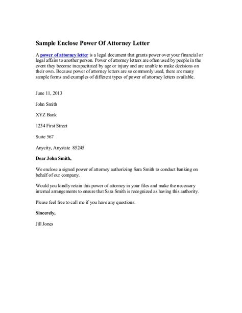 Authorization Letter Vs Power Of Attorney Sle Enclose Power Of Attorney Letter