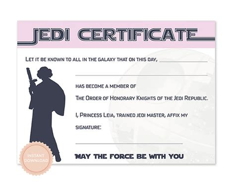 instant download star wars jedi certificate princess leia