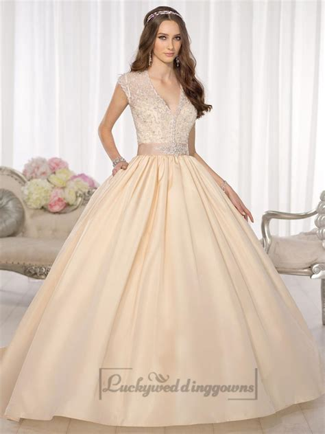 elegant cap sleeves v neck princess ball gown wedding