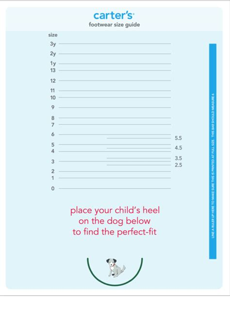 carters footwear size guide chart printable