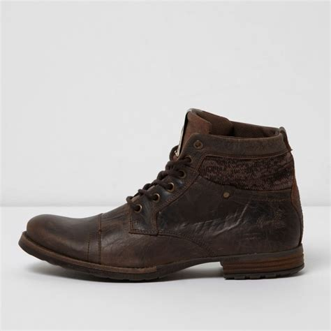 leather boots sale brown mixed texture leather boots shoes boots sale men