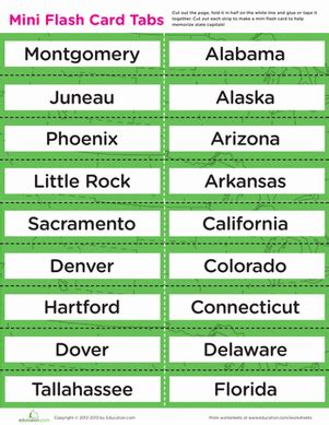 printable flash cards of states and capitals state capital flash cards worksheet education com