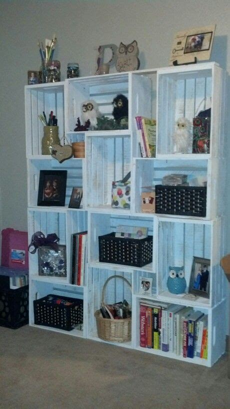 bookcase i made out of wood crates diy