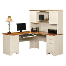 Corner Office Desk With Hutch Sauder Harbor View Corner Computer Desk With Hutch Antiqued White Desks At Hayneedle