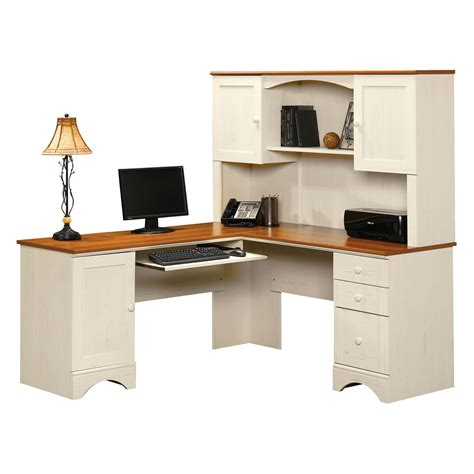 White Corner Computer Desk With Hutch Sauder Harbor View Corner Computer Desk With Hutch Antiqued White Desks At Hayneedle