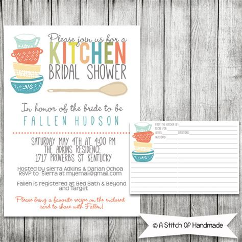 kitchen themed bridal shower quotes 2 kitchen themed bridal shower invitations with recipe card