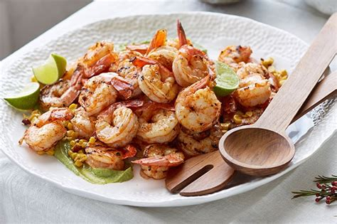 barbecued prawns with corn bacon blistered jalapeno and