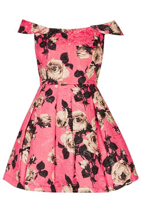 lyst topshop bardot floral prom dress  pink