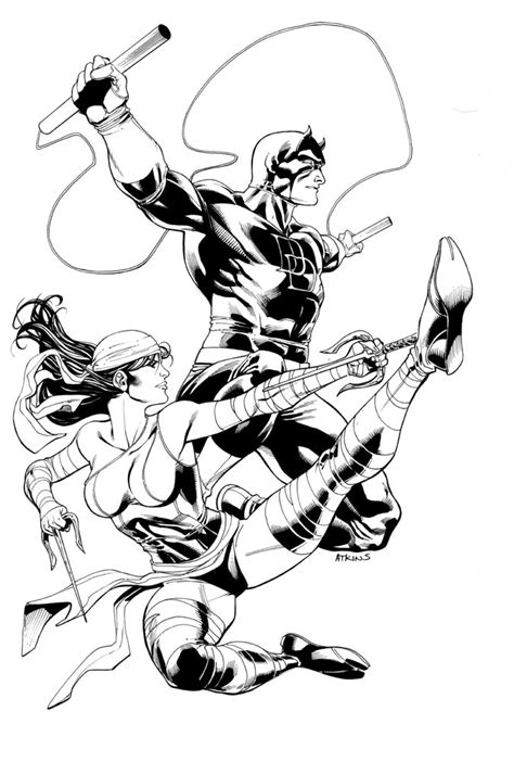 marvel elektra coloring pages daredevil elektra by robertatkins on deviantart