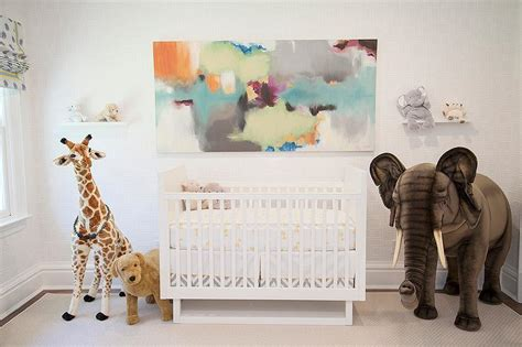 Contemporary boy room furniture features nursery with vintage metal shelves by homepolish