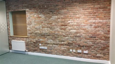 office wall transformation  real reclaimed brick