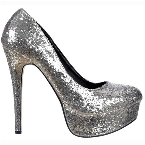 silver sparkly shoes shoekandi sparkly glitter stiletto platform heels