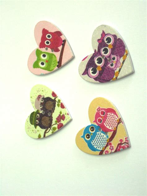 Owl Wooden Button owl wooden buttons 2 paradise creative crafts