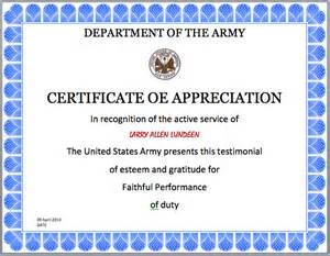 Military Certificates Templates Gallery For Gt Army Certificate Of Appreciation Template