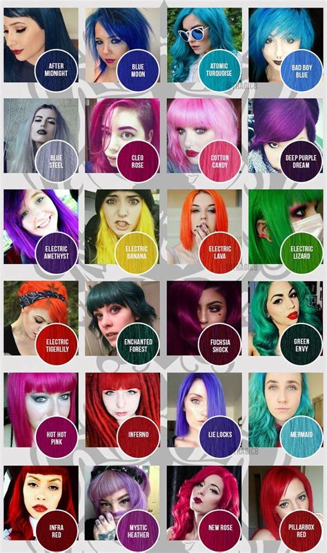 manic panic hair color chart best 25 manic panic color chart ideas on