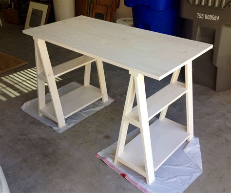 white sawhorse desk we came we saw horsed we conquered