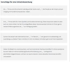 Initiativbewerbung Anschreiben Textbausteine Iniativbewerbung Anschreiben Kostenlose Vorlagen