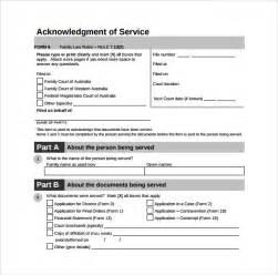 sample acknowledgement of service form 22 download