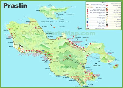 a map of large detailed tourist map of praslin island