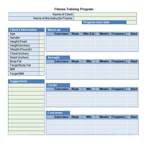 fitness program template free plan template 16 free documents in