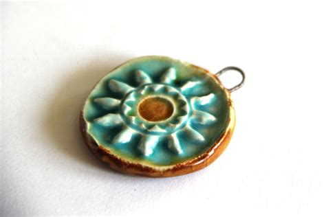 Pottery Jewelry Handmade - blue sun ceramic pendant handmade components for jewelry