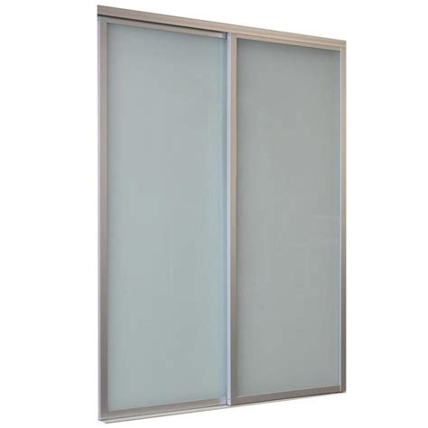 Sliding Glass Closet Doors Lowes Shop Reliabilt 9800 Series Boston By Pass Door Frosted Glass Glass Sliding Closet Interior Door