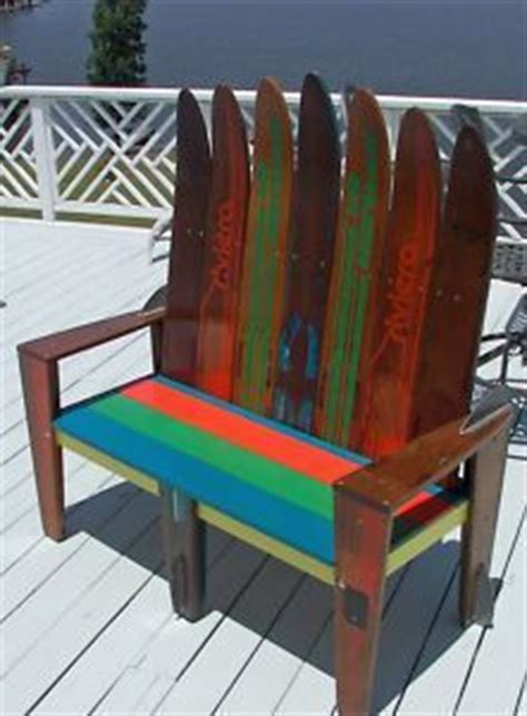 bench made out of skis great idea on pinterest antique makeup vanities knobs and old cabinet doors