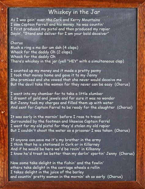 metallica whiskey in the jar lyrics 17 irish songs and drinking song lyrics