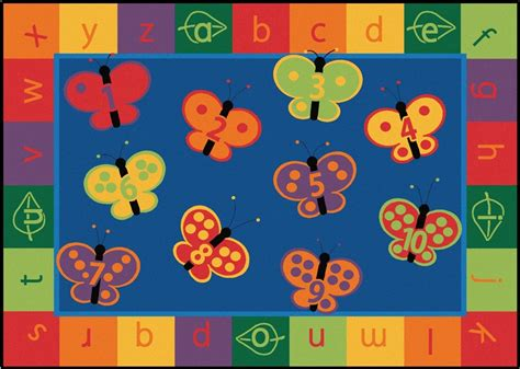 Butterfly Area Rug 123 Abc Butterfly Fun Classroom Rug Cfk35xx Carpets