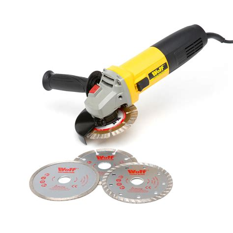 hb tools bench grinder wolf 850w angle grinder 3pc disc set ukhs tv tools to go