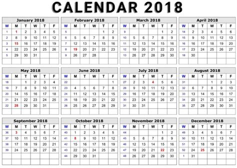 2018 Printable Calendar Word Printable Calendar 2018 Word Document Format