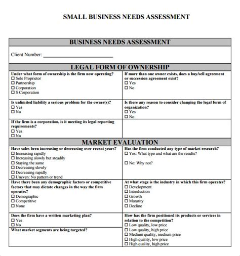 Business Assessment Template needs assessment 9 free for pdf word
