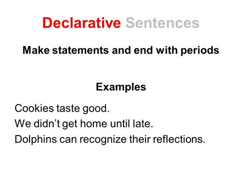 Sentences Of Declarative by Four Sentence Types End Marks Lesson Ppt