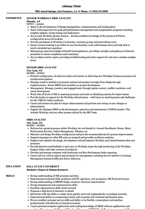 hris analyst resume sles velvet jobs
